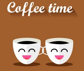 Funny coffee template design vector 02