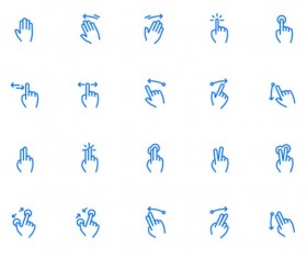 Gesture icon blue vector set