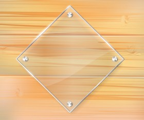 Glass frame with wood textures background vector 01