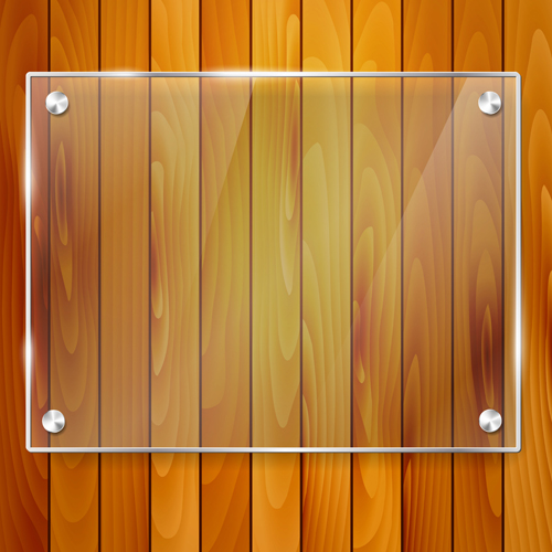 glass frame with wood textures background vector 02