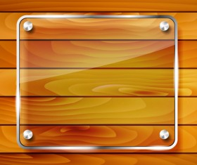 Glass frame with wood textures background vector 03