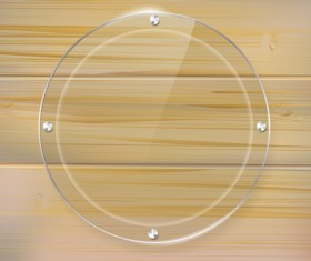 Glass frame with wood textures background vector 05