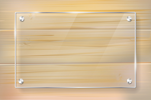 glass frame with wood textures background vector 06
