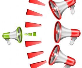 Green with red megaphone design vectors