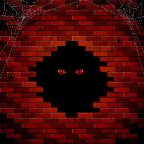 halloween brick wall background vector 01