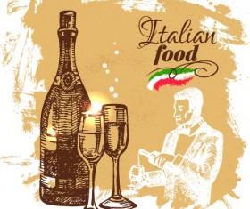 Hand drawn Italian food design vector material 01