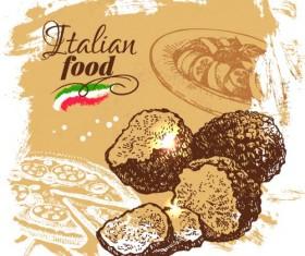 Hand drawn Italian food design vector material 02