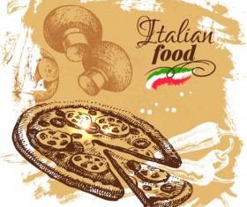 Hand drawn Italian food design vector material 03
