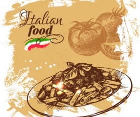 Hand drawn Italian food design vector material 04