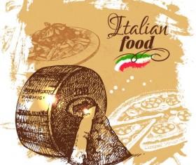 Hand drawn Italian food design vector material 05
