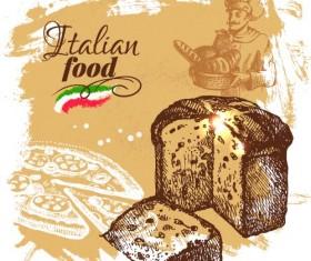 Hand drawn Italian food design vector material 06