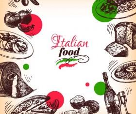 Hand drawn Italian food design vector material 07
