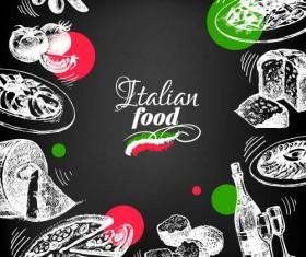 Hand drawn Italian food design vector material 08