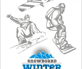 Hand drawn snowboard winter sport vector set 01