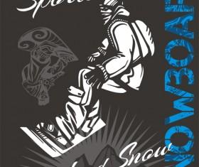Hand drawn snowboard winter sport vector set 02