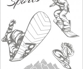 Hand drawn snowboard winter sport vector set 03