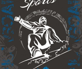 Hand drawn snowboard winter sport vector set 04