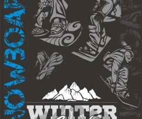 Hand drawn snowboard winter sport vector set 05