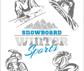 Hand drawn snowboard winter sport vector set 06