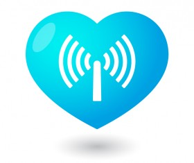 Heart Wi-Fi wireless signal vector material