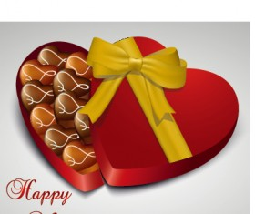 Heart candy with box valentine day vector