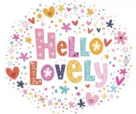 Hello lovely wordart vector design 02