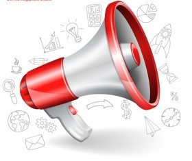 Infographics with red megaphone vector 01