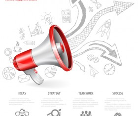 Infographics with red megaphone vector 02