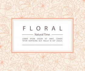 Line floral pattern with vintage background vector