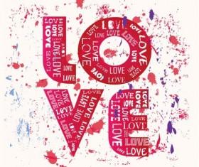 Love with grunge bakcgorund vector 01