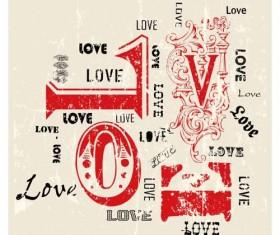 Love with grunge bakcgorund vector 02