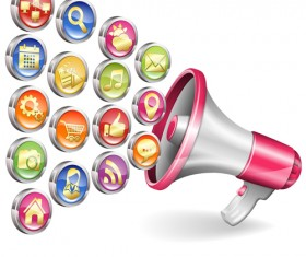 Megaphone with social icons vector 02