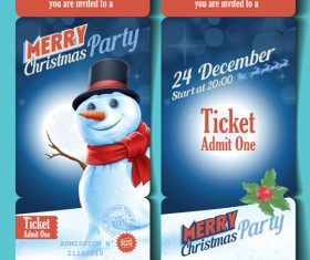 Merry christmas party ticket template vector