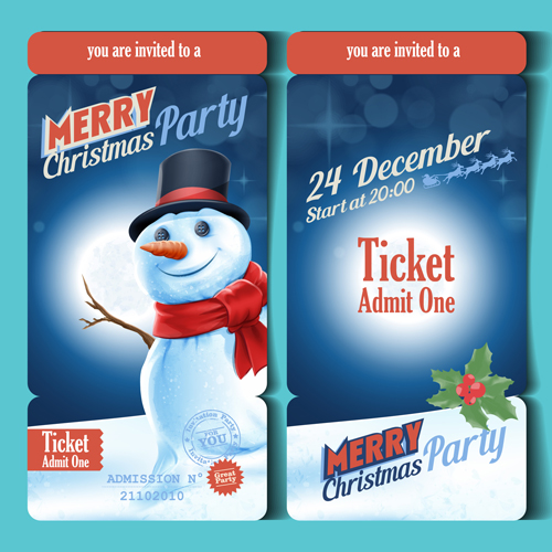 merry christmas party ticket template vector free download