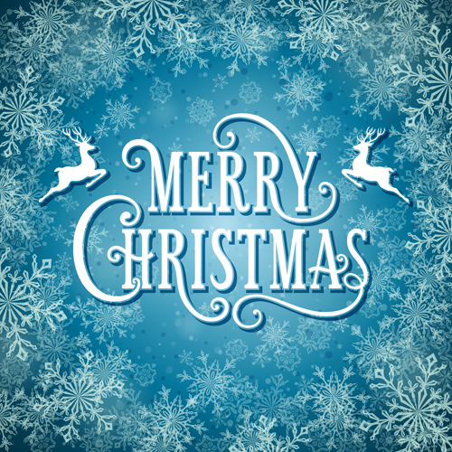 Merry christmas with snow background vectors