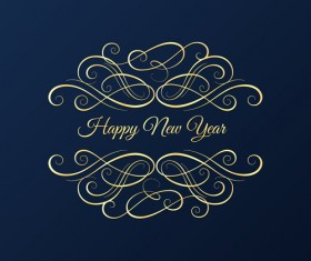 New year card with blue background
