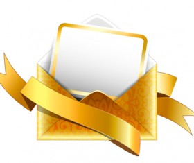 Ornate envelope with cards and ribbon vector set 05