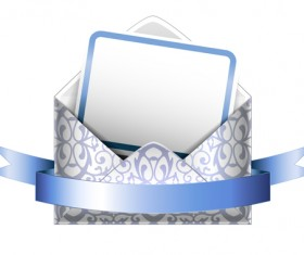 Ornate envelope with cards and ribbon vector set 10