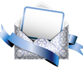 Ornate envelope with cards and ribbon vector set 11