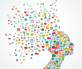 People head with icons concept vector 01