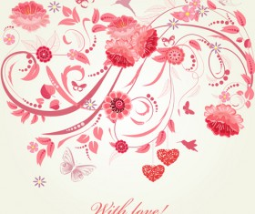 Pink floral with heart vector material