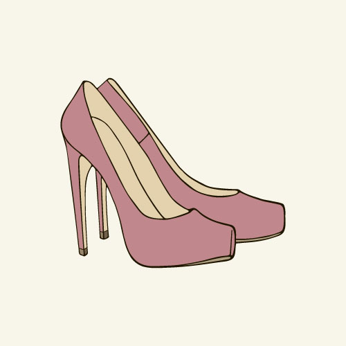 Pink high heeled shoes vector