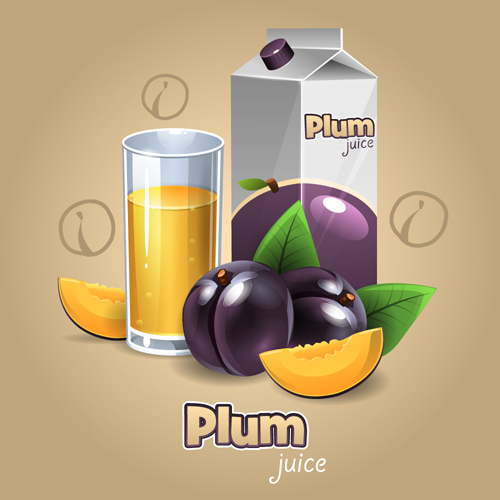 Plum juice packaging with cup vecotr