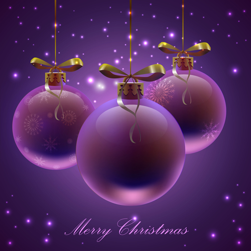 purple christmas ball with background vector 02 free download