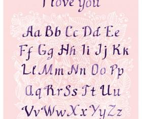Purple ink alphabets vector