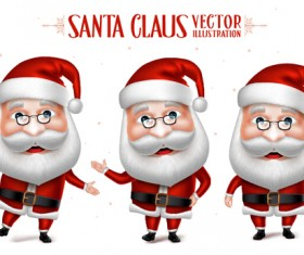 Realistic christmas santa cartoon vector 02