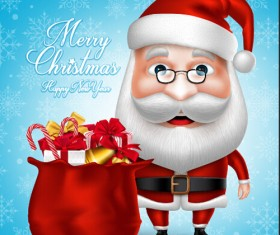 Realistic christmas santa cartoon vector 04