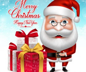 Realistic christmas santa cartoon vector 05