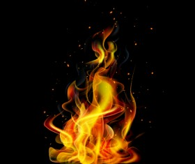 Realistic flame with black background vector 01