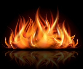 Realistic flame with black background vector 02